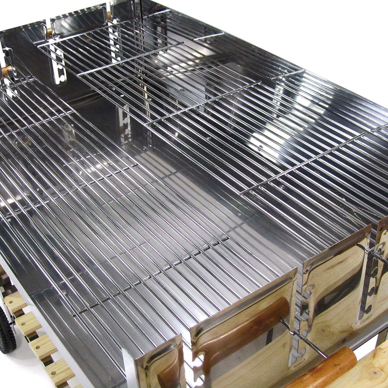 JOM Barbecue, Grill, Smoker au Charbon Acier Inoxydable 136cm x 60cm x 93cm, Surface de grillade 100cm x 60 cm, 2X grilles à réglage dissocié, 2 Roues
