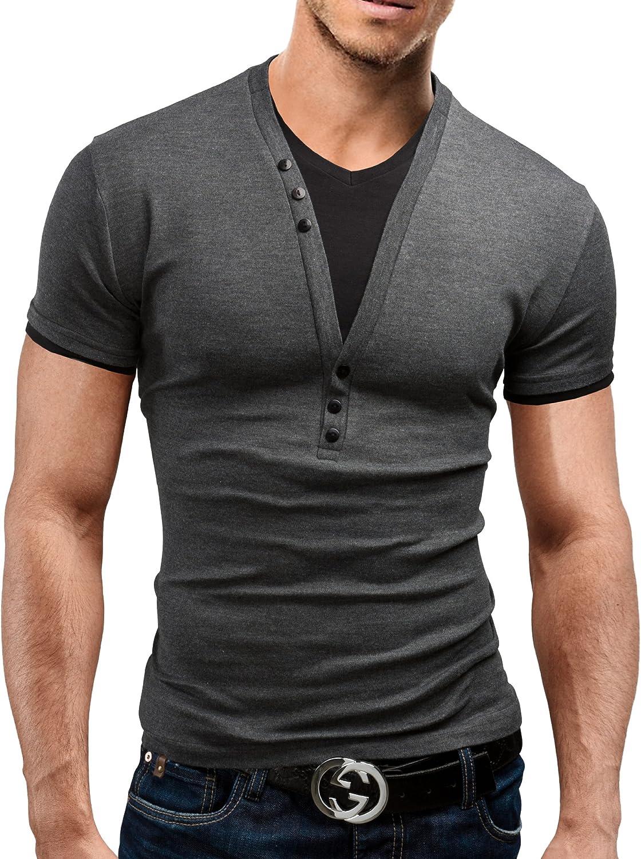 5 Vari Colori Casual Design 2 in 1 con Bottoni Decorativi Merish Maglietta da Uomo Slim Fit Shirt 24