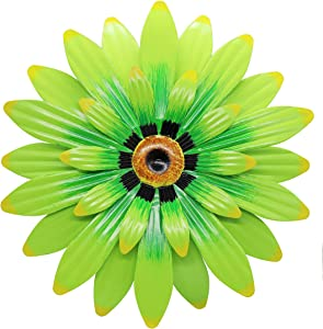 "Juegoal 16"" Large Metal Flower Wall Art Inspirational Daisy Wall Decor Hanging for Indoor Outdoor Home Bedroom Living Room Office Garden, Green"
