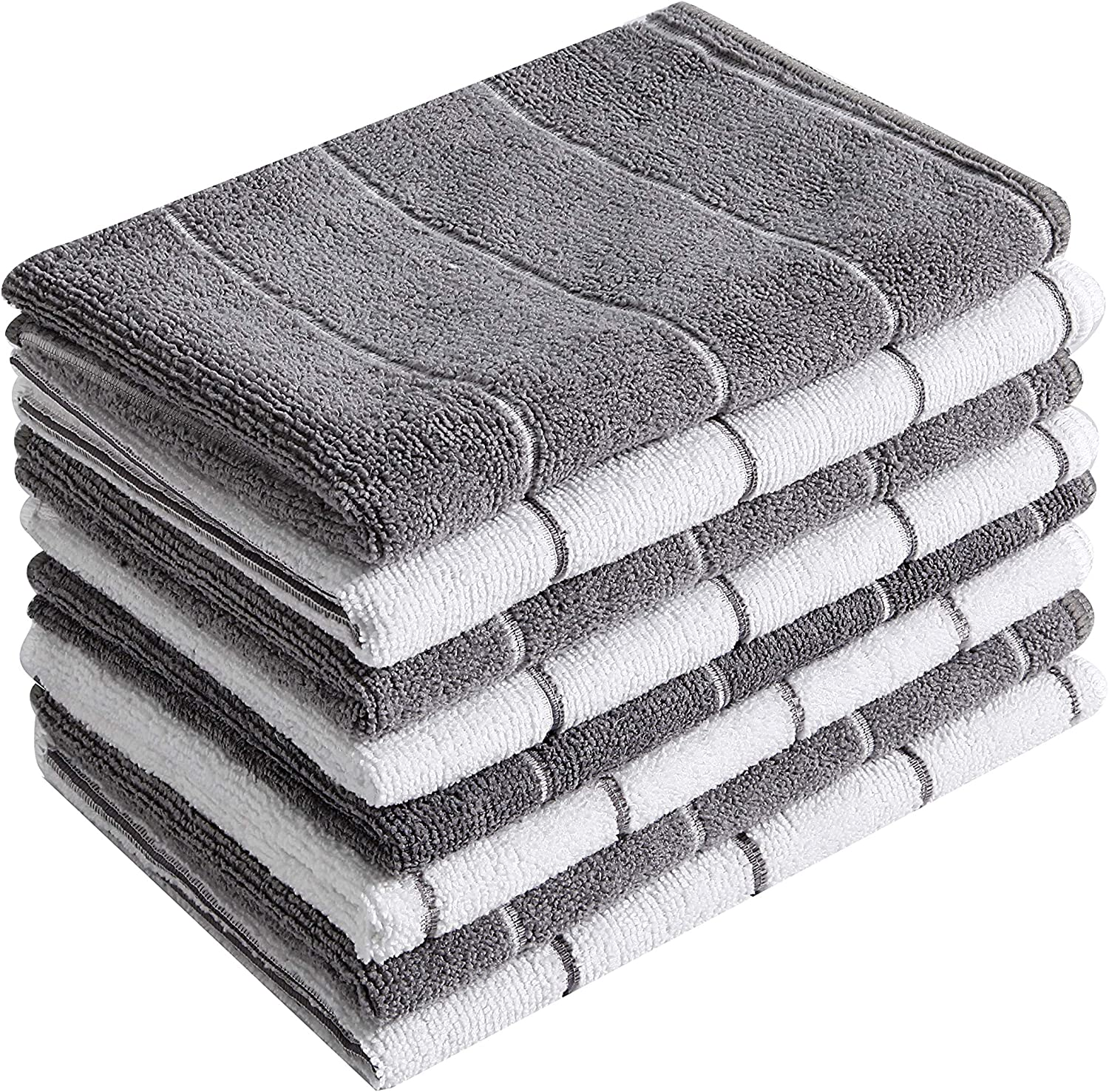 Microfiber Kitchen Towels - Super Absorbent, Soft and Solid Color Dish Towels, 8 Pack (Stripe Designed Grey and White Colors), 26 x 18 Inch