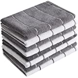 Microfiber Kitchen Towels - Super Absorbent, Soft and Solid Color Dish Towels, 8 Pack (Stripe Designed Grey and White…