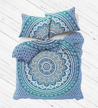 Amazon.com: Exclusive Blue Ombre Mandala DUVET COVER WITH ... : quilt cover blue - Adamdwight.com