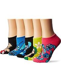 Disney womens Lilo & Stitch 5 Pack No Show Socks Casual Sock