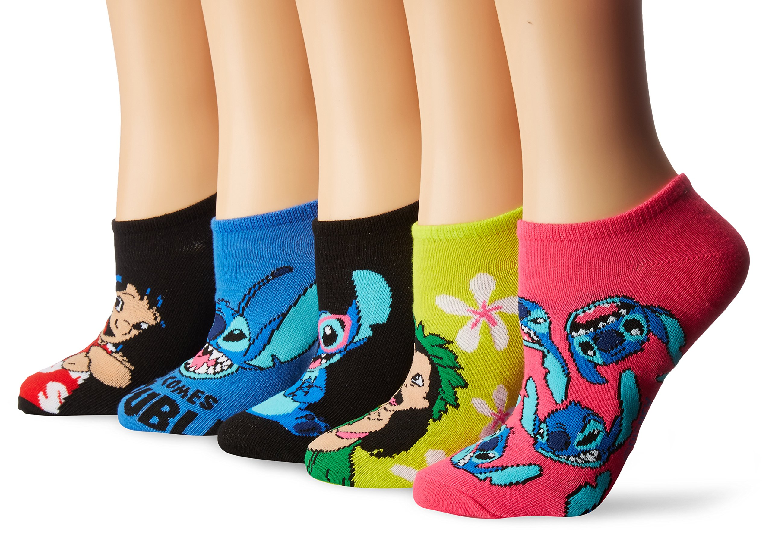 Disney Women's Lilo & Stitch 5 Pack No Show, Assorted Bright Fits Sock Size 9-11; Fits Shoe Size 4-10.5