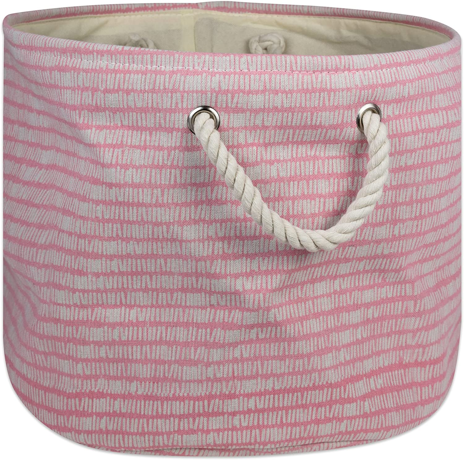 DII Collapsible Polyester Storage Basket or Bin with Durable Cotton Handles, Home Organizer Solution for Office, Bedroom Closet, Toys, Laundry, Medium Round, Pink Sorbet