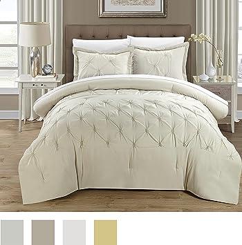 Amazon.com: Chic Home 3 Piece Veronica Pinch Pleat Pintuck Duvet ... : beige quilt cover - Adamdwight.com
