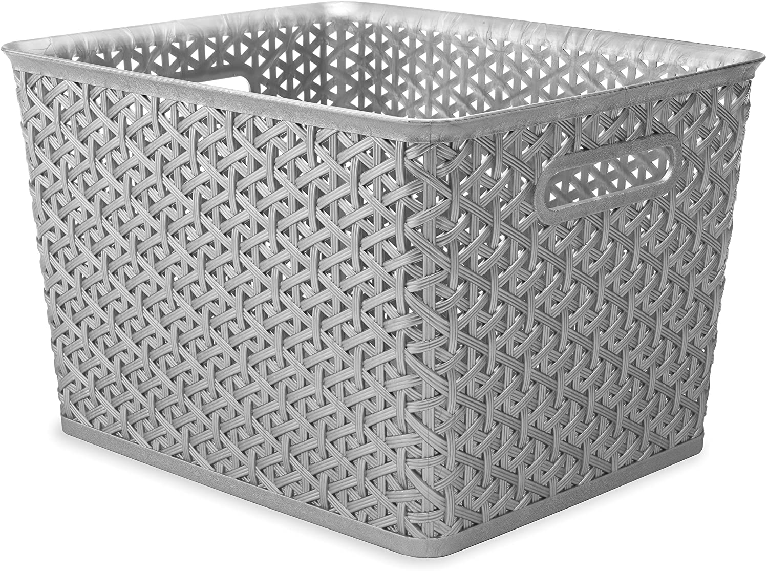 Whitmor Resin Form Tote, Large, Silver