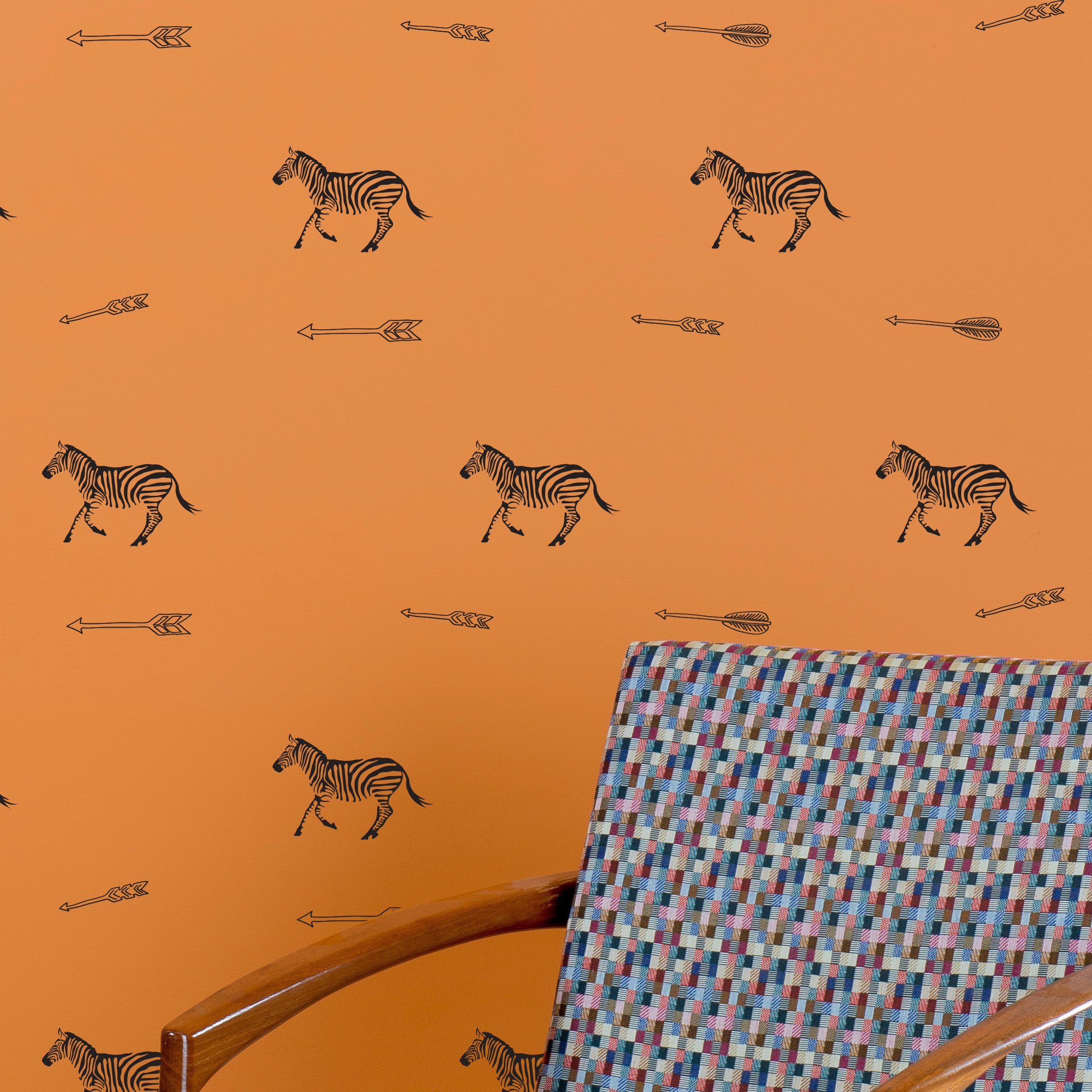 Zebras and Arrows Pattern - Vinyl Wall Art Decal for Homes, Offices, Kids Rooms, Nurseries, Schools, High Schools, Colleges, Universities, Interior Designers, Architects, Remodelers