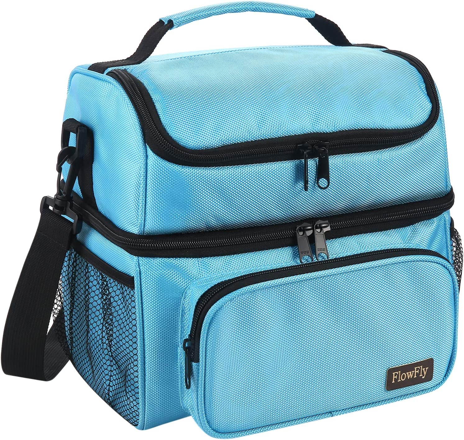 FlowFly Adult Lunch Bag Insulated 2 Roomy Compartment Thermal Lunch Box Large Reusable Double Decker Tote Cooler Bag with Detachable Shoulder Strap for Men Women kids,Blue