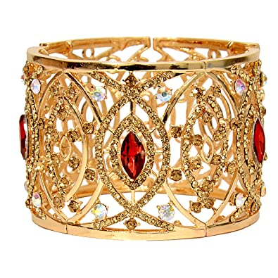 0d3a32139aa9 Mansiyaorange Adjustable Broad Korean Austrian Crystal AAA Rhinestone  Multicolor One Gram Gold GoldenCuff   Kadaa Bangle
