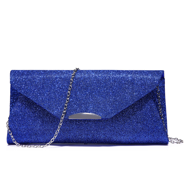 Abendtasche Clutch Handtaschen Umschlag Geldbö rse fü r Frauen Klappe Glitter mit Kettenriemen fü r Hochzeitsfeier Blau ARHNWB110605LK-FBA