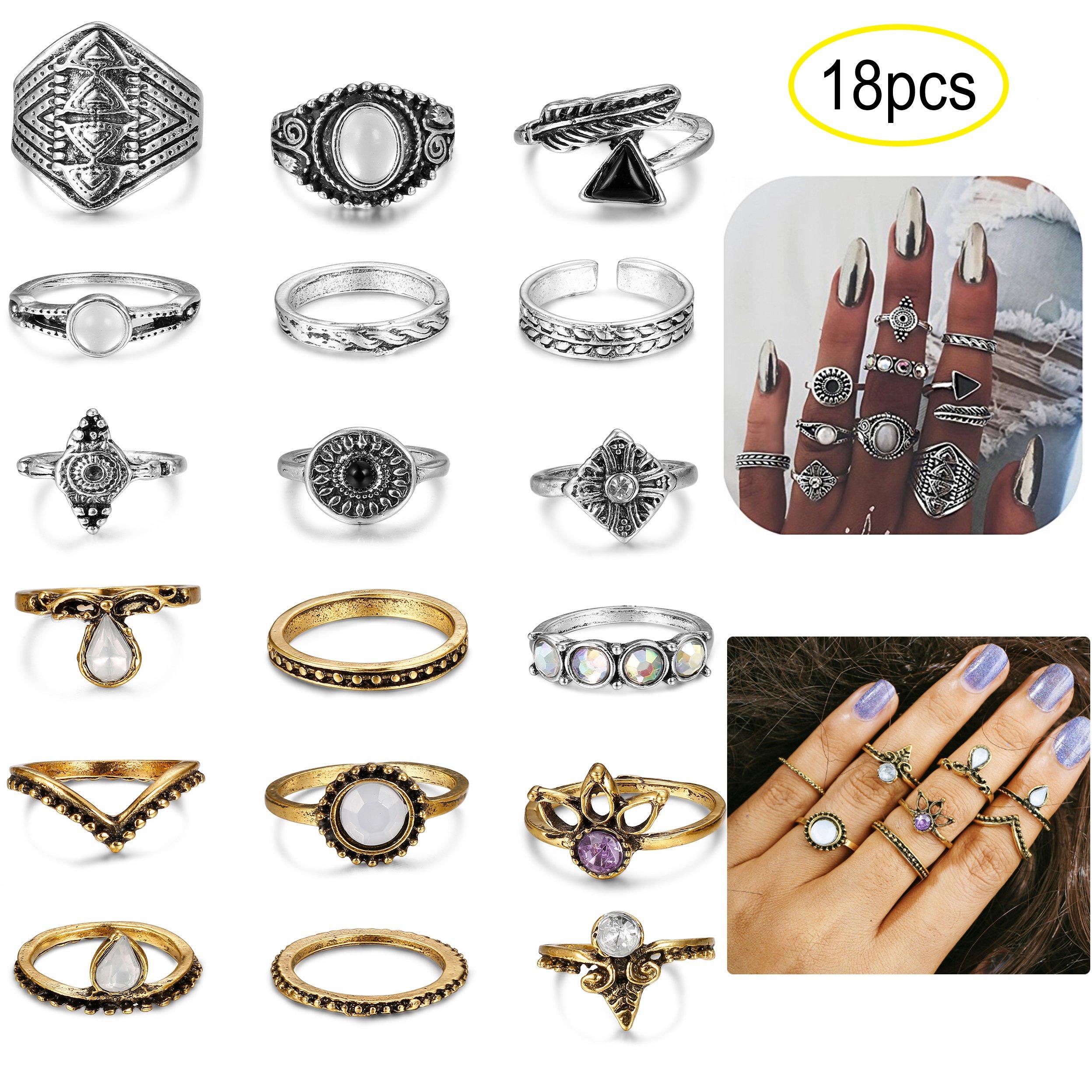 LOYALLOOK 16-18PCS Bohemian Vintage Knuckle Ring Set for Women Girls Stackable Rings Finger Toe Rings Set 18pcs