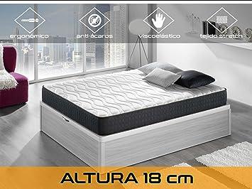 Dormi Premium Basic 18 - Colchón - Colchón Viscoelástico, 135 x 190 x 18 cm, Algodón/Poliuretano, Blanco/Negro, Matrimonio: Amazon.es: Hogar
