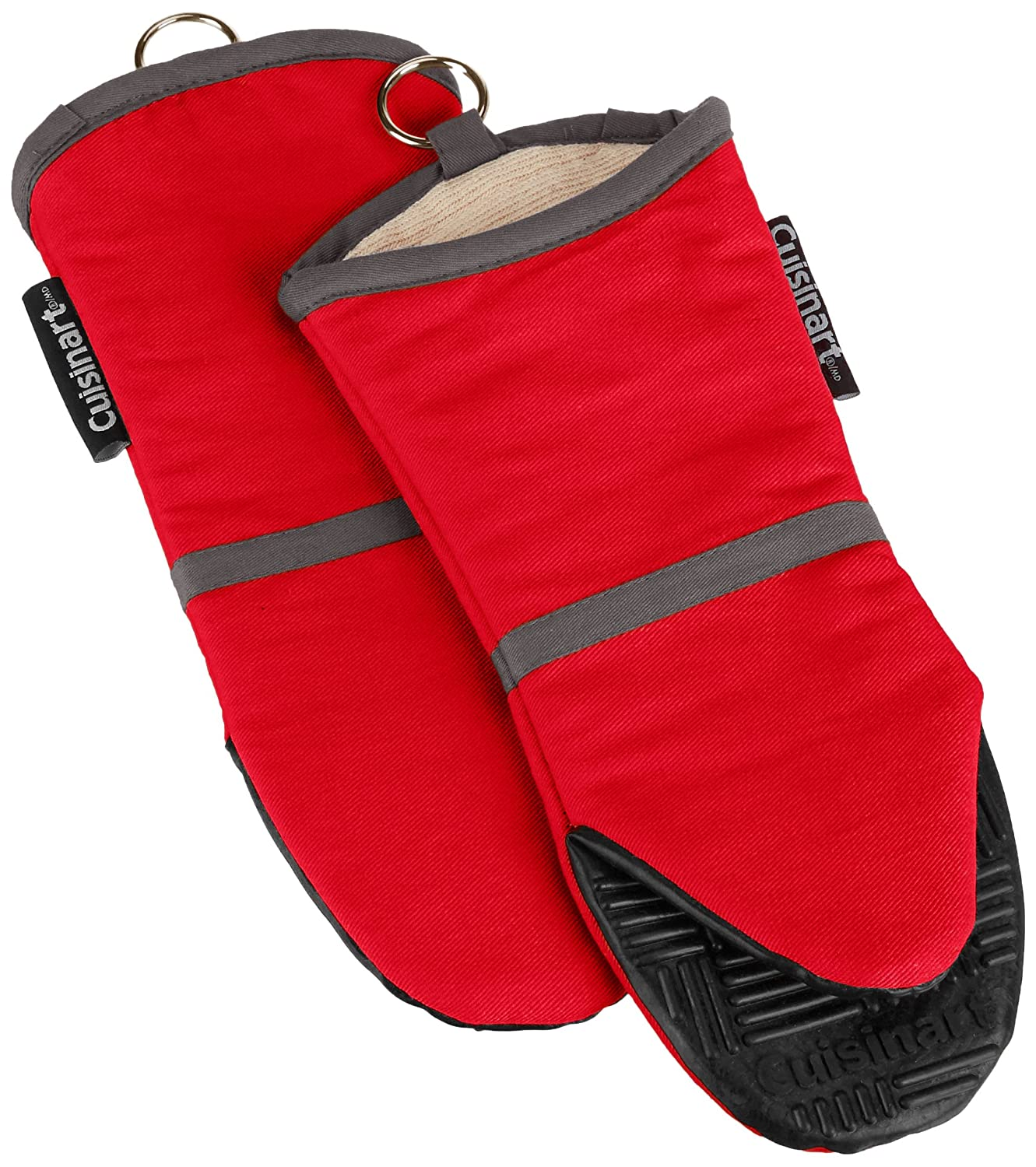 Cuisinart Oven Mitt with Non-Slip Silicone Grip, Heat Resistant to 500° F, Red, 2-Pack