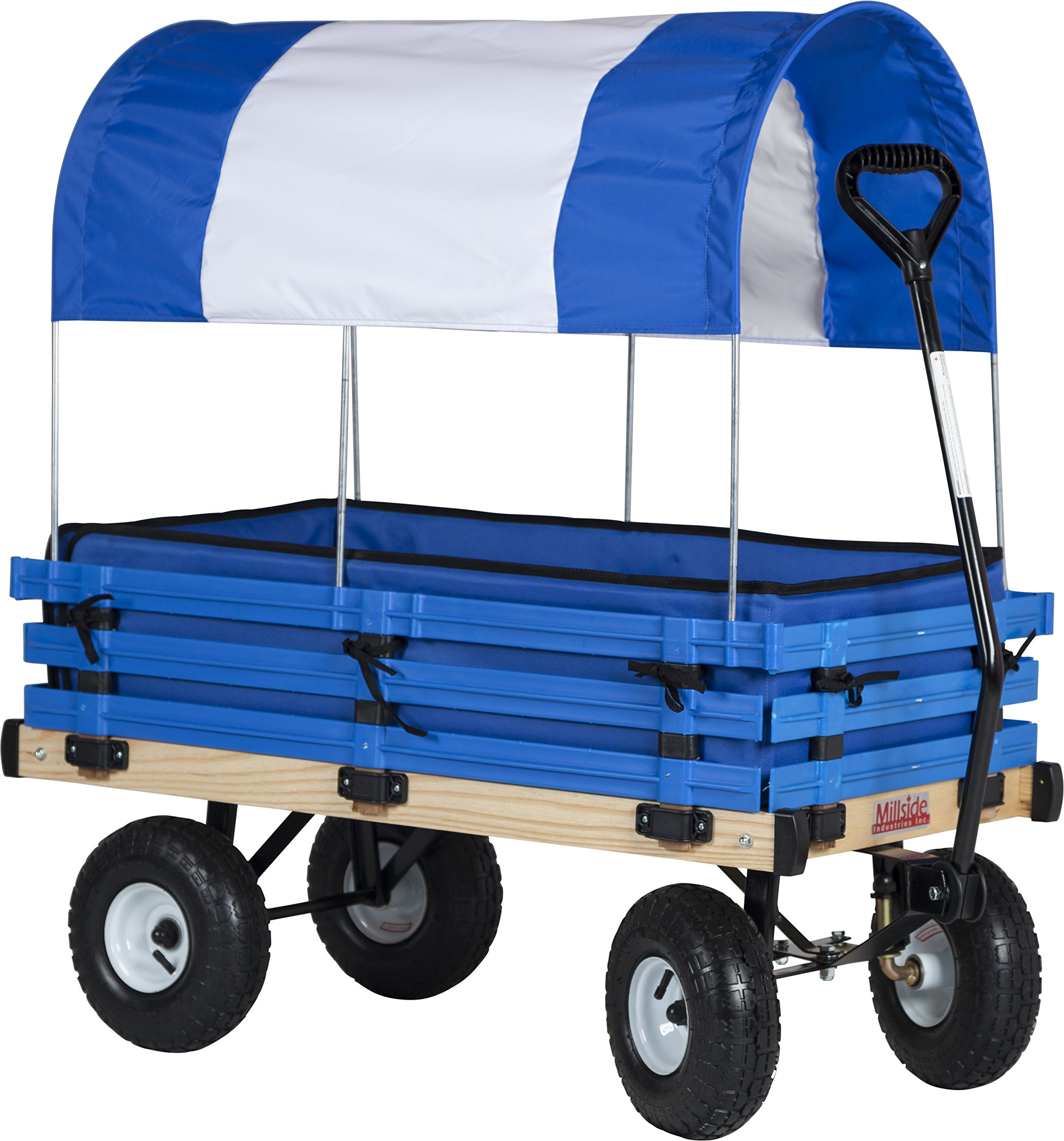 Millside Industries Classic Wood Wagon with Blue and White Canopy by Millside Industries