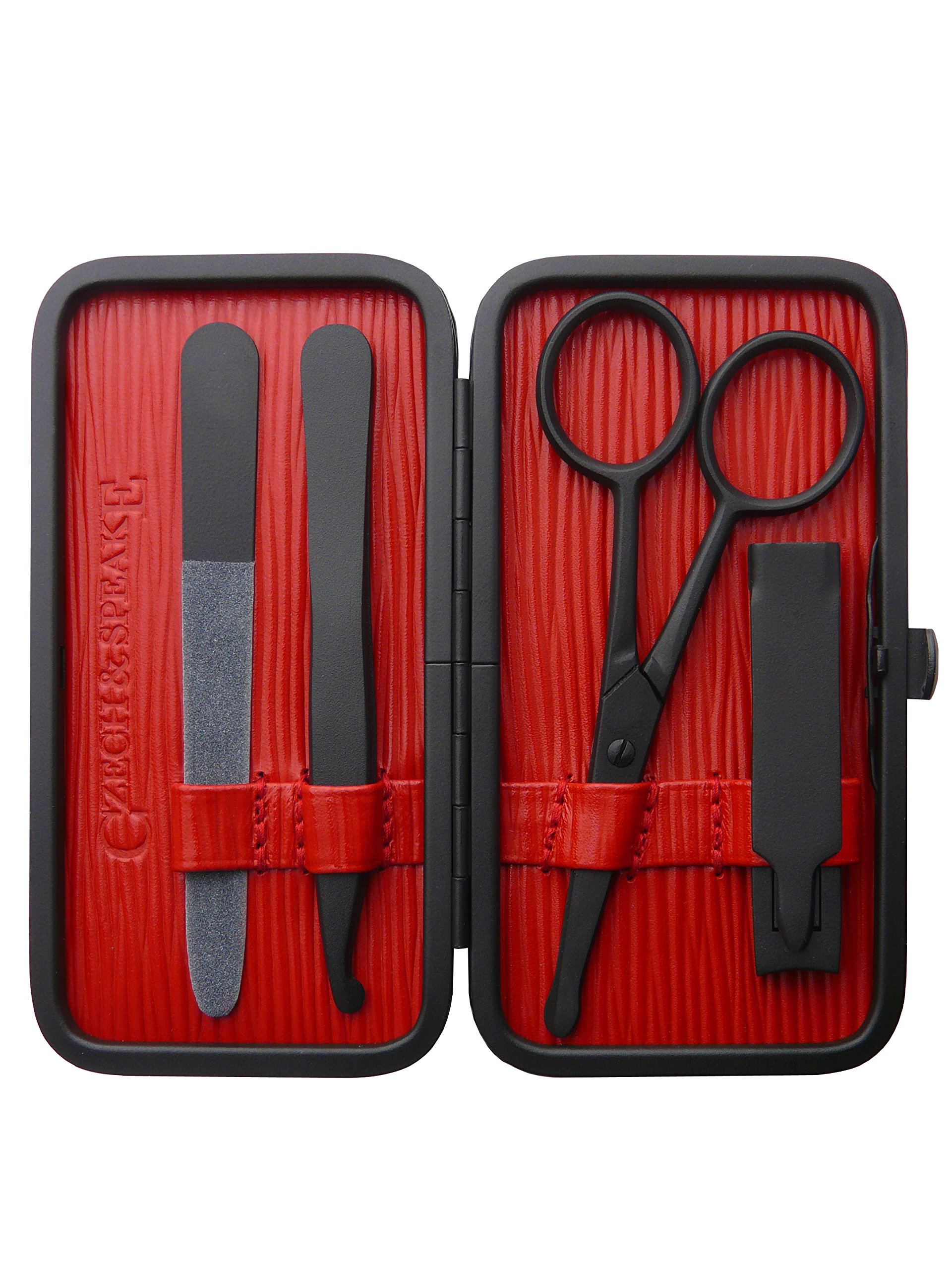 Czech and Speake Air Safe Manicure Set - Black/Red by Czech & Speake