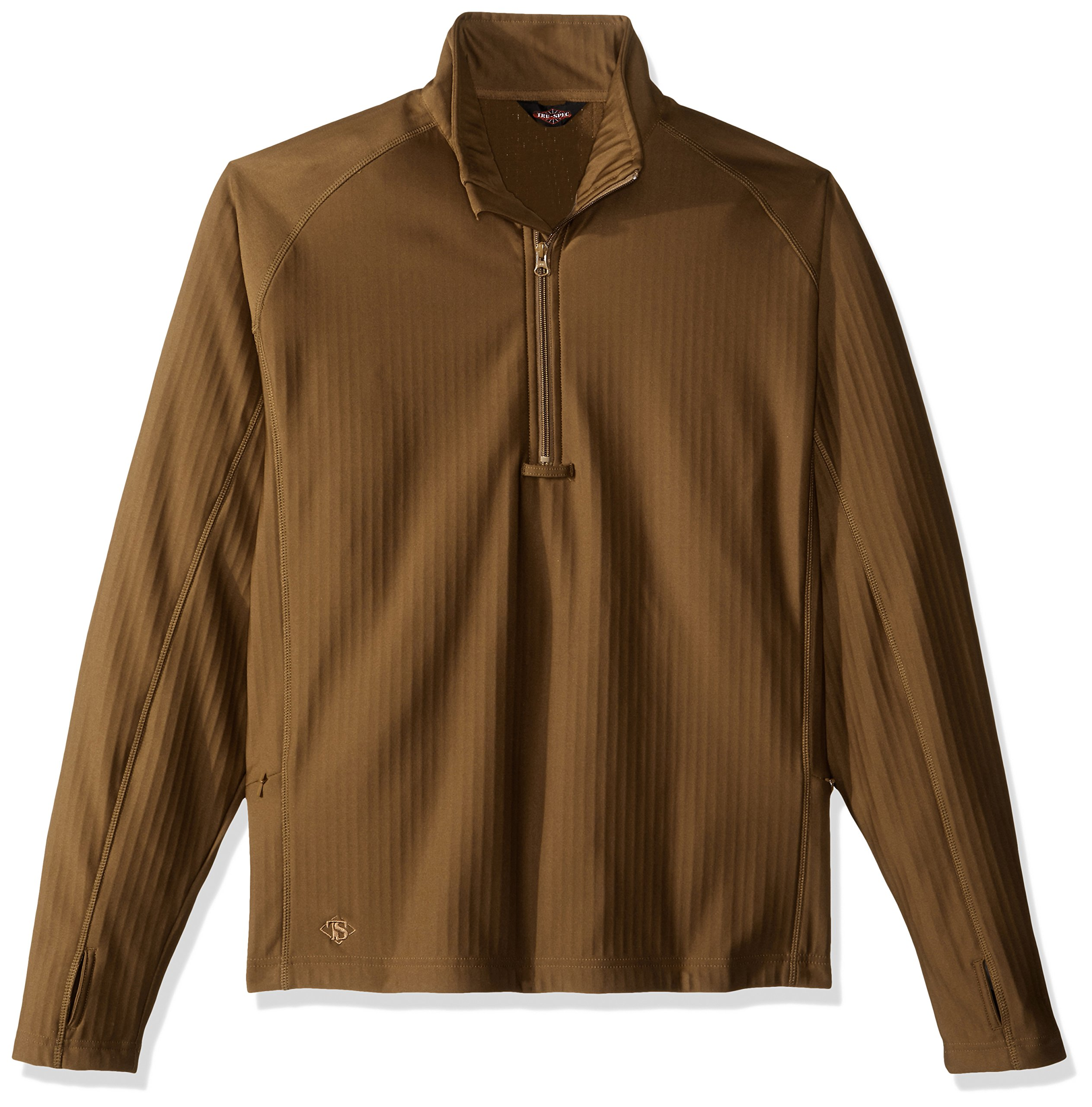 Tru-Spec Shirt, 24-7 Coy Grid Pullover, Zip Through, Coyote, Small