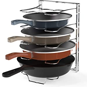 Kitchen Cabinet 5 Adjustable Compartments Pan and Pot Lid Organizer Rack Holder, Chrome