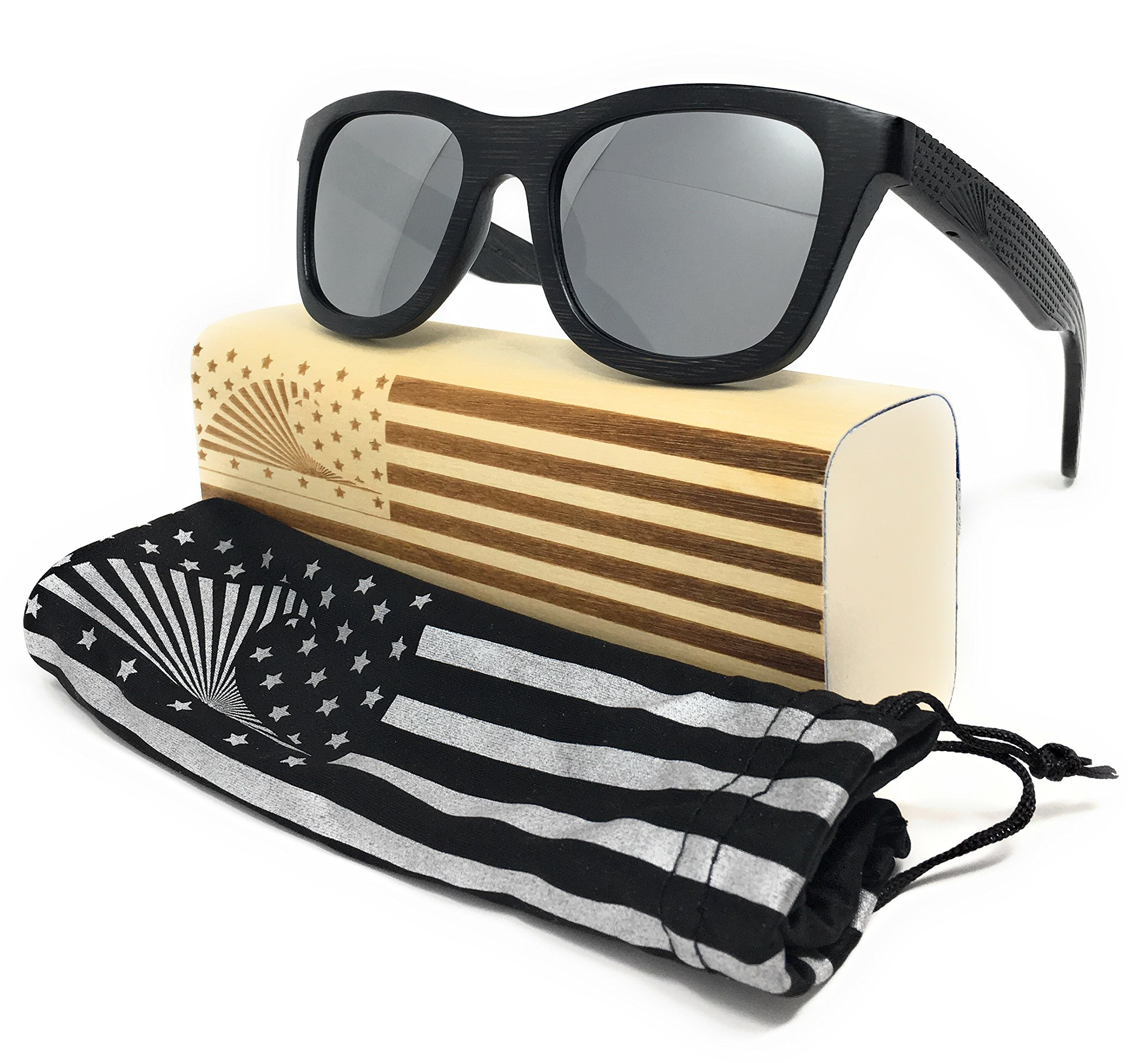 Patriot Shades Polarized Floating Large Frame Bamboo Wood American Flag Wayfarer Sunglasses | LOUDMOUTH PATRIOT (Black, Silver)