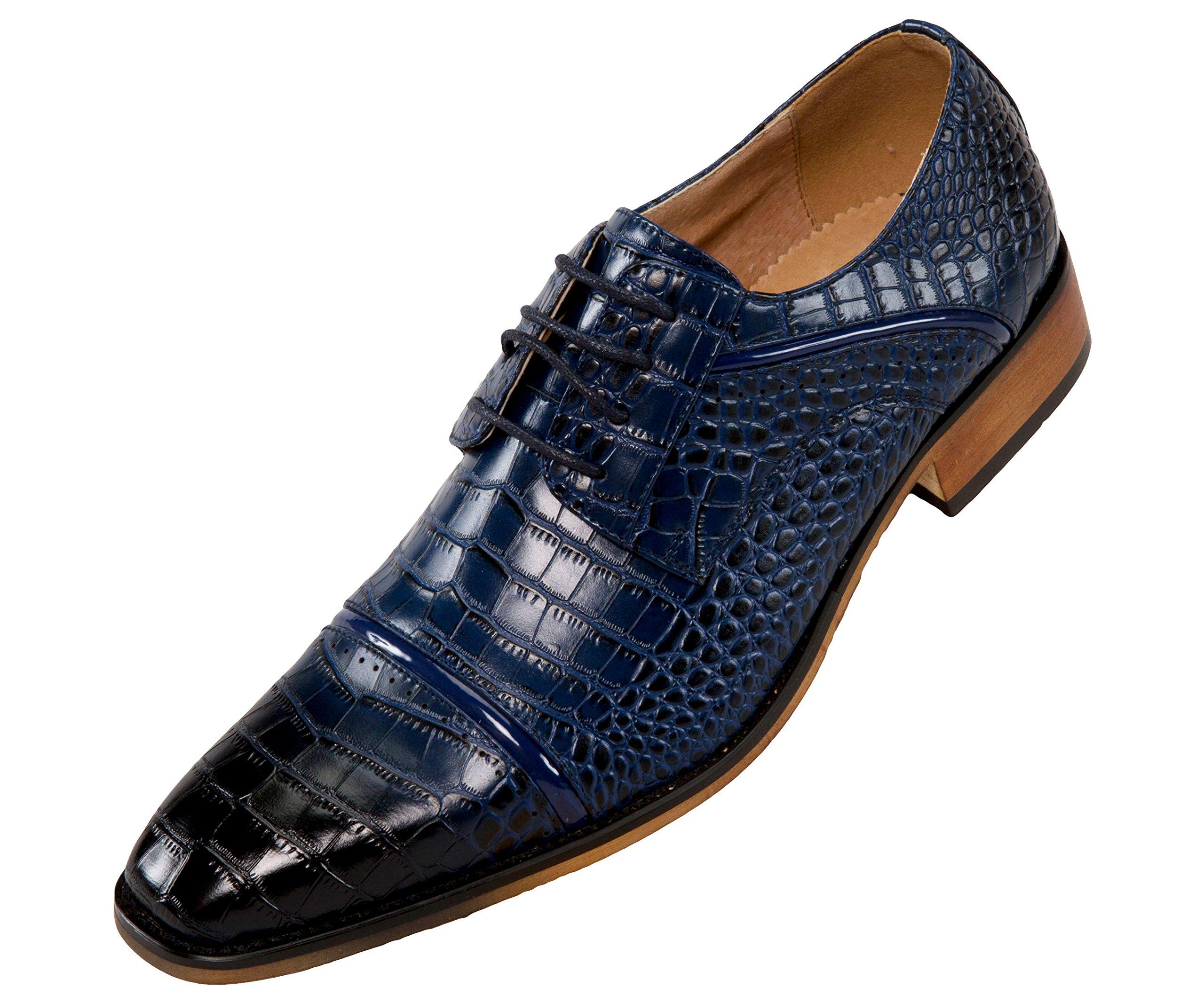Amali Mens Oxford Dress Shoes Zig Zag Stitching Exotic Crocodile Designs Styles Tomaso, Eberly