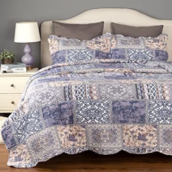 Bedding Quilt Set Luxury Bedroom Bedspread Blue Blending Patchwork Twin  Size 106X96 Microfiber Lightweight Vintage By