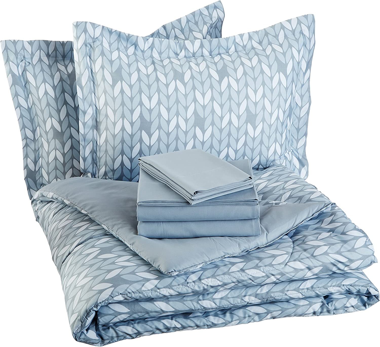Basics 5-Piece Light-Weight Microfiber Bed-In-A-Bag Comforter Bedding Set - Twin or Twin XL, Navy Simple Plaid: Home & Kitchen