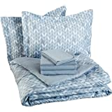AmazonBasics 7-Piece Bed-In-A-Bag - Full/Queen, Grey Leaf
