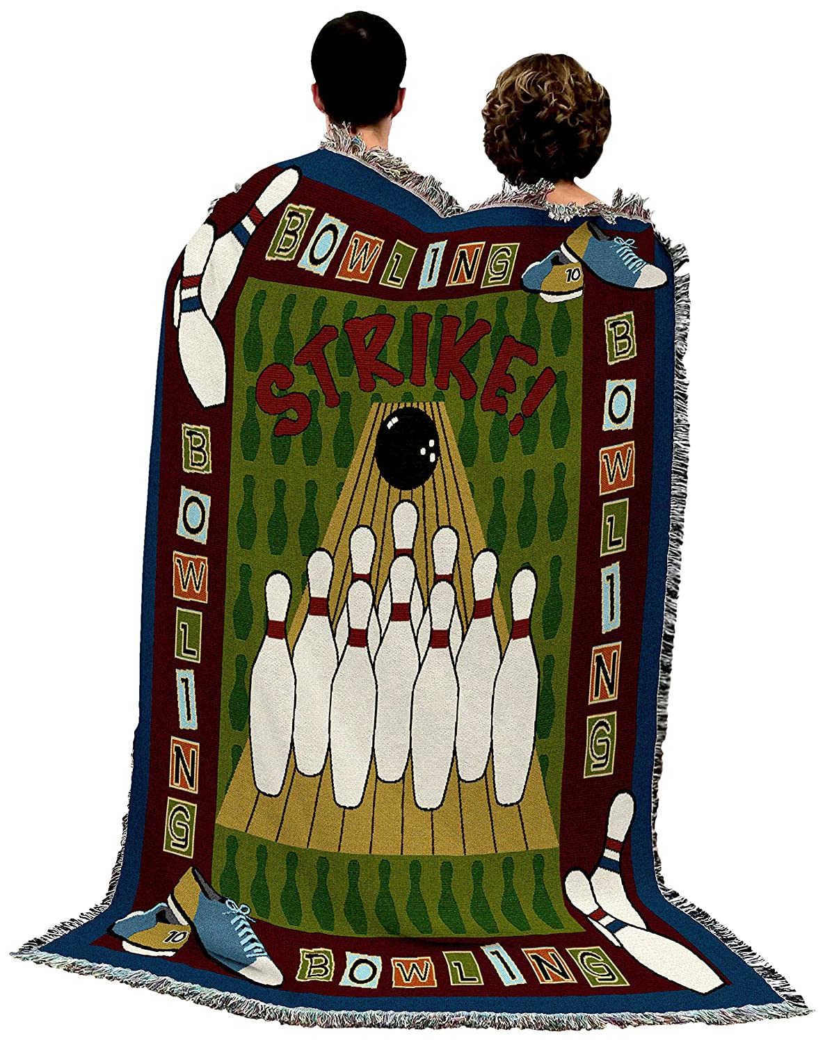 Bowling Woven Tapestry Throw Blanket with Fringe Cotton USA 72x54 3851-T Pure Country Weavers
