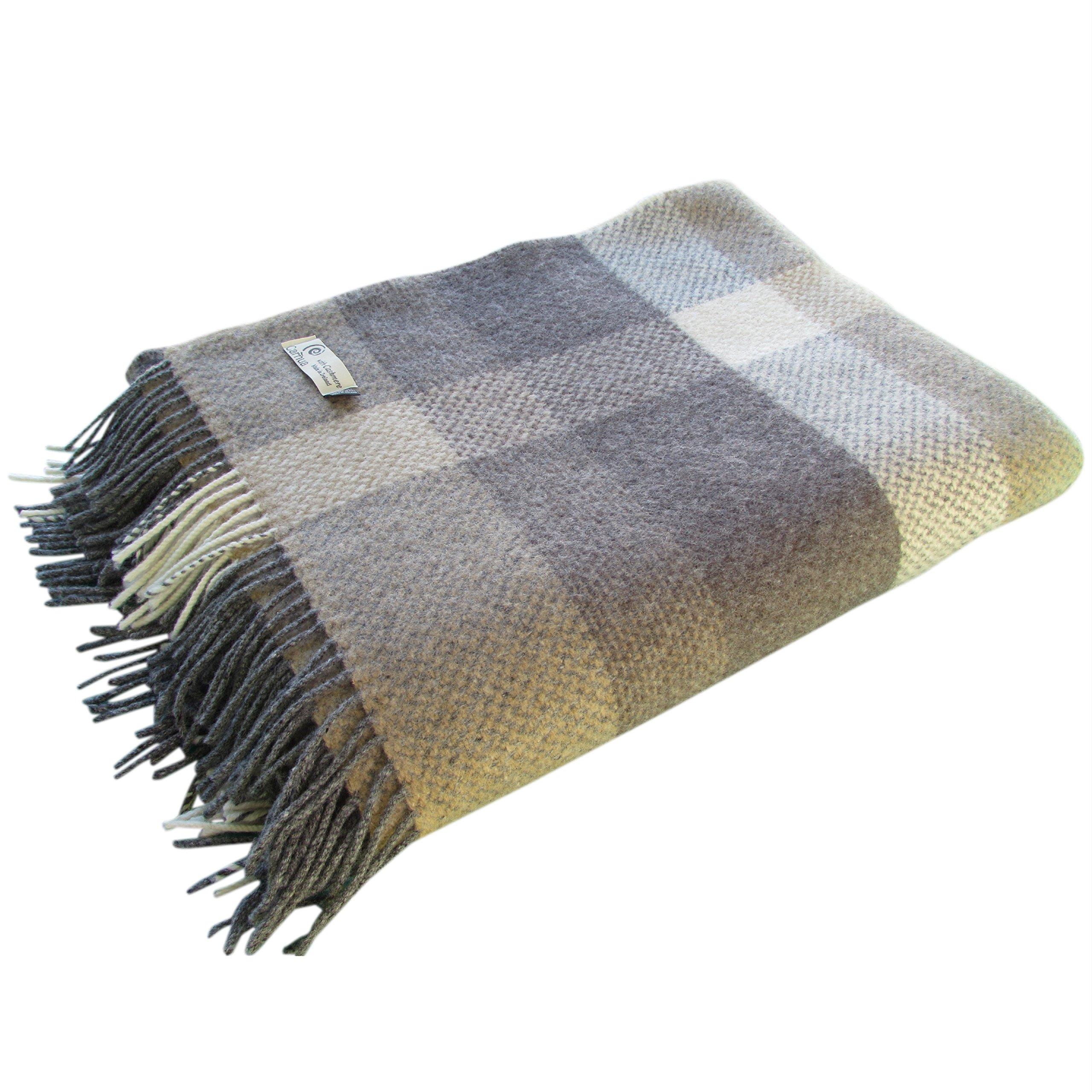 Large Irish Merino Cashmere Wool Throw Blanket (Brown)