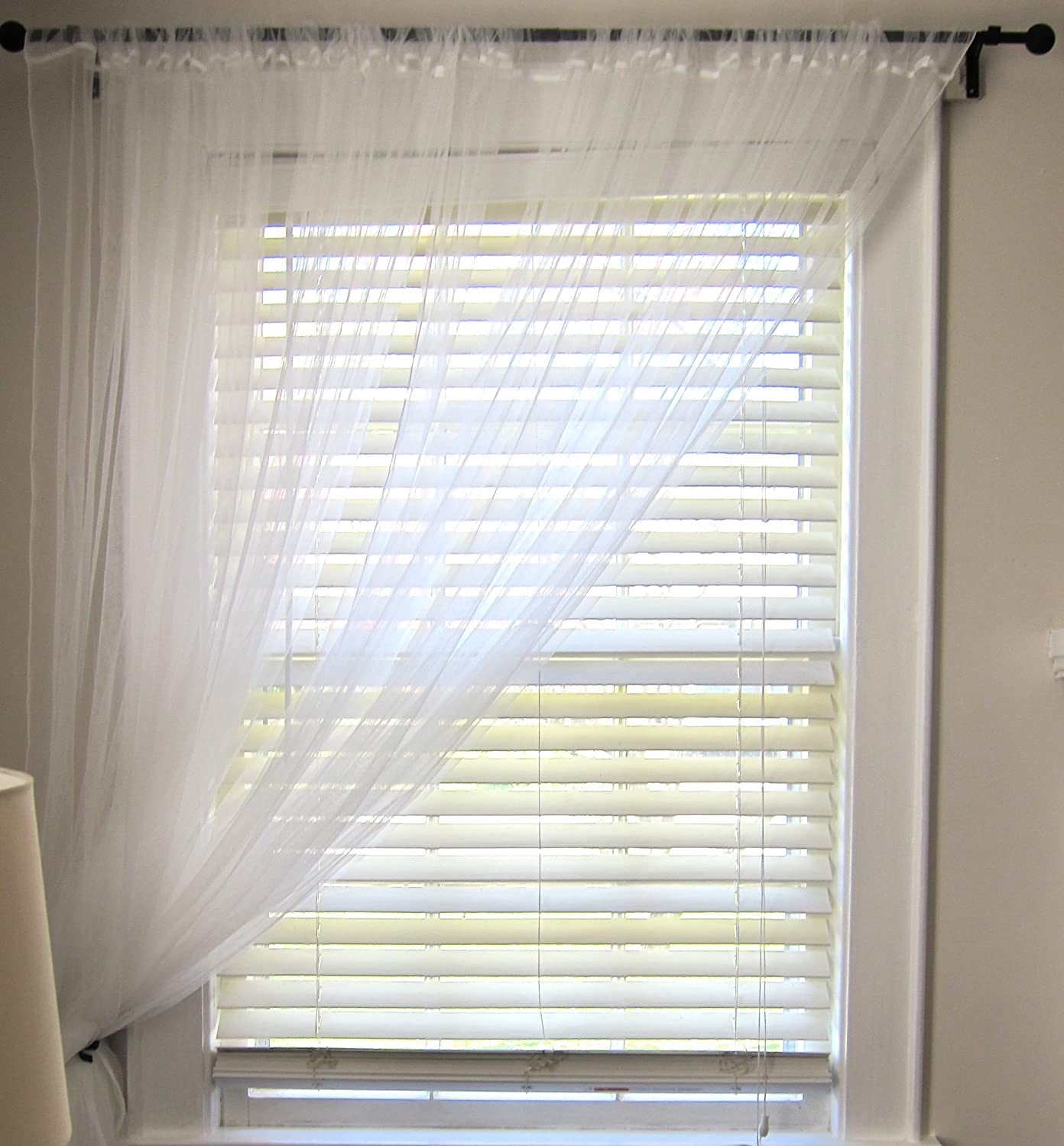 Ikea Lill Pair Long Floaty White Net Curtains 3m Long Can Be Cut To Size Amazon Co Uk Kitchen Home
