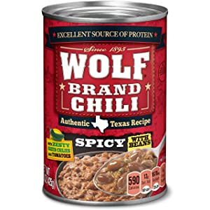 WOLF BRAND Spicy Chili with Beans, Zesty Green Chilies & Tomatoes, 15 oz. (pack of 12)