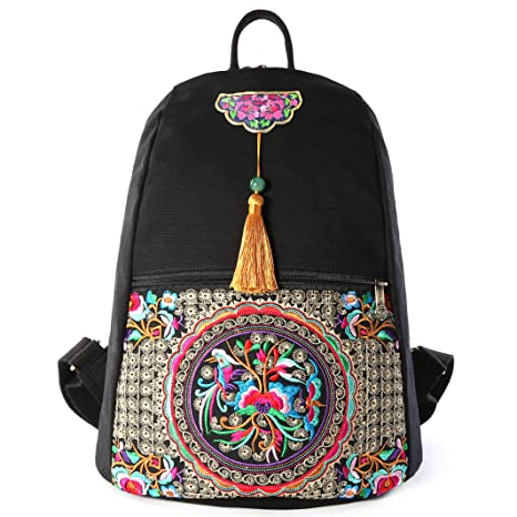 b88c7b37bb46 Amazon.com: Embroidery Canvas Backpack Purse for Women, Small Tassel ...