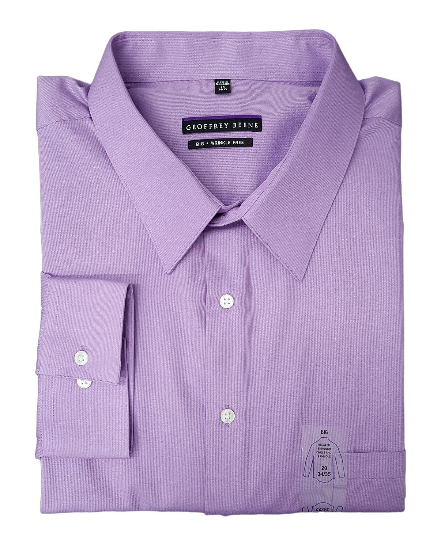Geoffrey Beene Mens Big Tall Bedford Tonal Stripe Shirt Purple