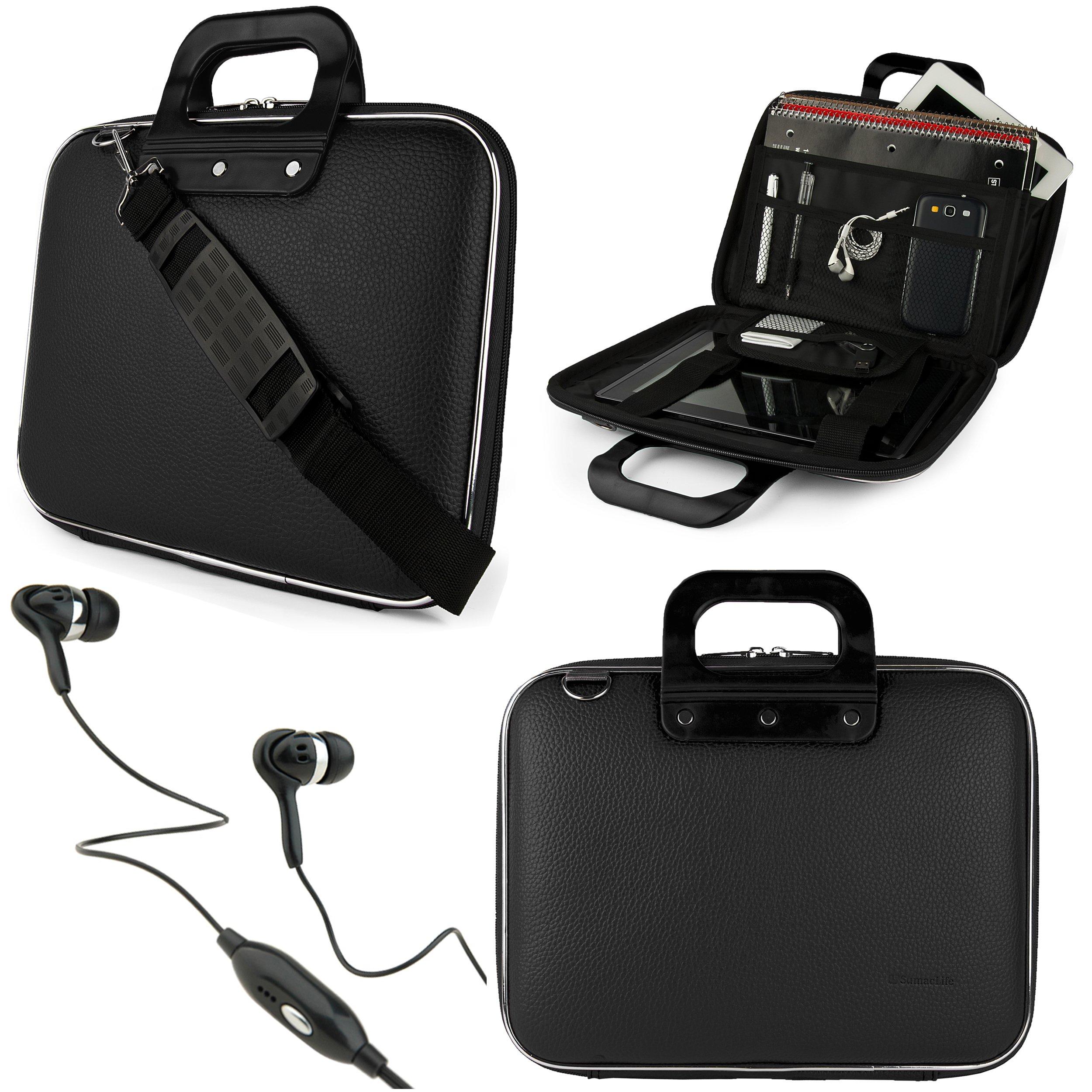 SumacLife Cady 10.1-inch Tablet Messenger Bag for Lenovo Ideapad MIIX 300 with Black Headphones (Black)