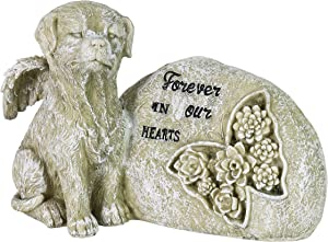 "Exhart Dog Memorial Garden Statue Inspired ""Forever in Our Hearts"" –Dog Memorial Stone w/Floral Butterfly Art Décor – UV-Treated & Weather-Resistant Resin Dog Sculpture for Garden Décor, 10""x5""x7"""