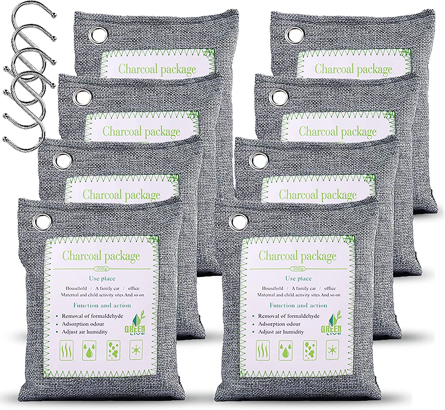 WGCC Activated Bamboo Charcoal Air Purifying Bags, [8 Pack 200g Each] Natural Fresh Bags Odor eliminators Absorber - Kid&Pet-friendly Air Fresheners for Home, Car, Shoes, Closet, Pets and Basement