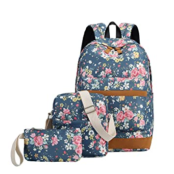 School Backpacks For Teen Girls Lightweight Canvas Backpack Bookbags Set Teal Floral