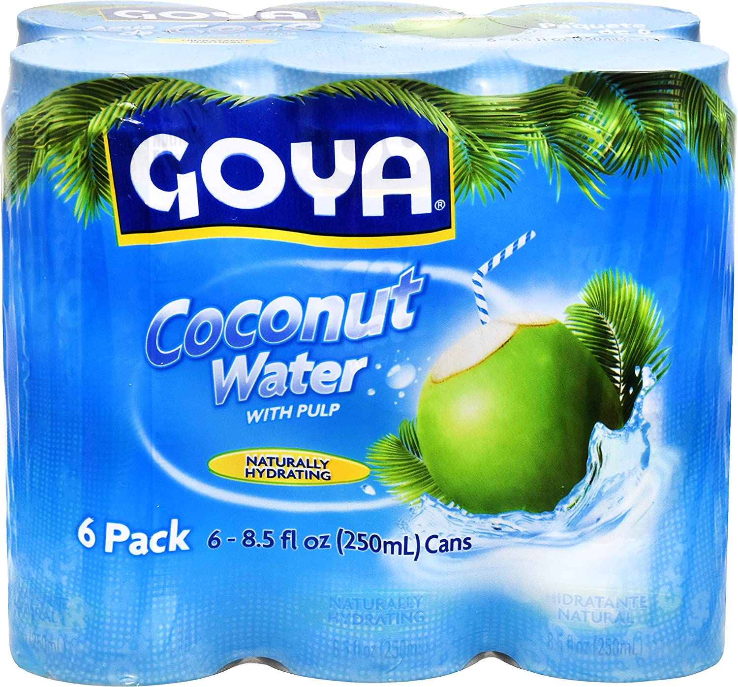 Goya Foods Coconut Water with Real Coconut Pieces, 6 count - 8.5 fl oz Cans (Pack of 5)