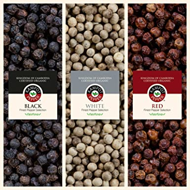 Set de Pimienta Kampot, calidad premium - 1 x 50g Pimienta negra Kampot - 1