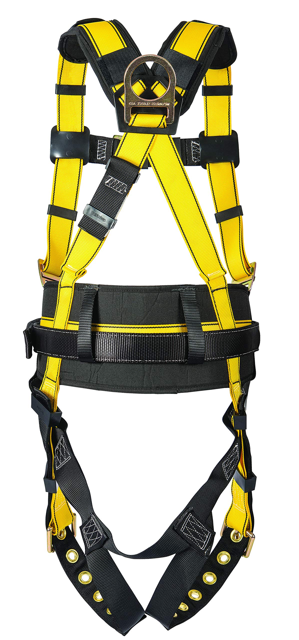 MSA 10077571 Workman Construction Harness with Back/Hip D-Rings, Tongue Buckle Leg Straps, Qwik-Fit Chest Strap Buckle, Integral Back Pad, Tool Belt and Shoulder Pads, Standard by MSA (Image #1)