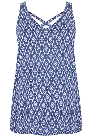 4bbd5e44f74 Yours Clothing Women s Plus Size Printed V-Neck Vest Top with Cross Back  Detail Size