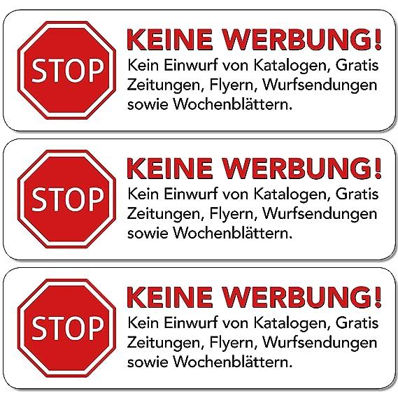 Keine Werbung Aufkleber 10 Stk In Weiss Schild Folie Sticker Stop Bitte Keine Kostenlose Zeitung Reklame Flyer Handzettel Wurfsendungen