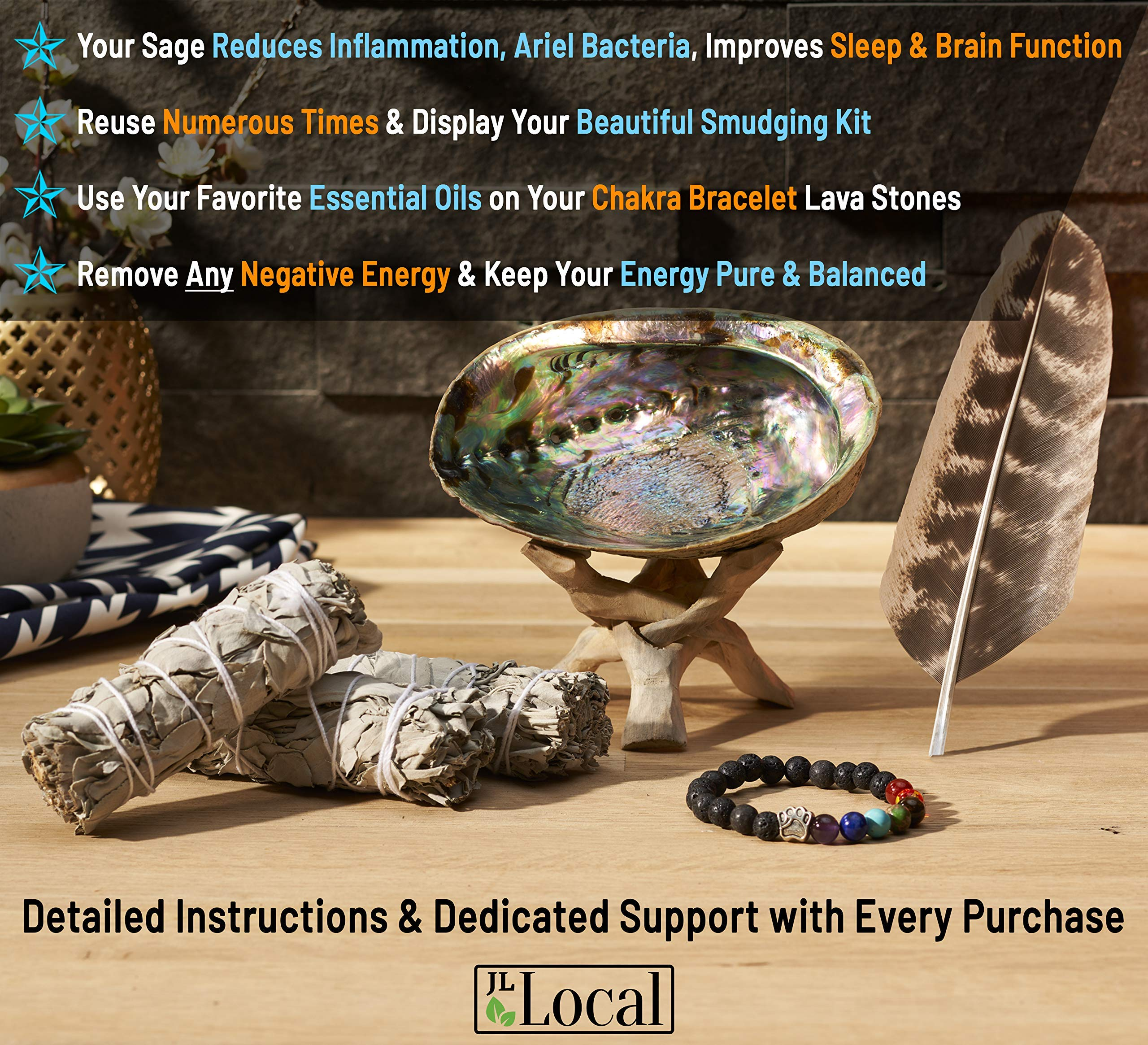 JL Local 3 White Sage Smudge Gift Kit - Abalone Shell, Feather, Stand, Instructions & More - Smudging, Cleansing, Healing & Stress Relief by JL Local (Image #4)
