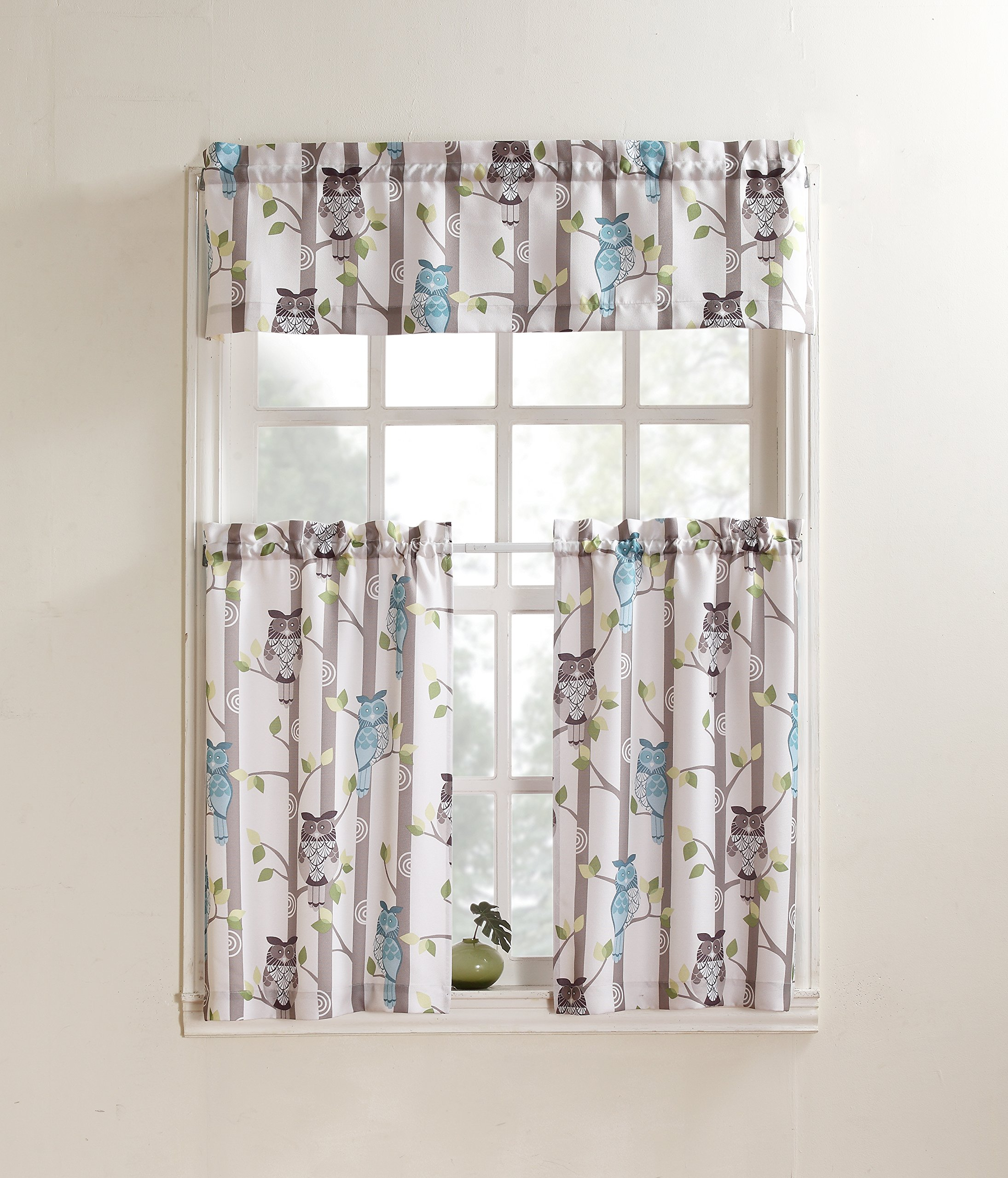 "No. 918 Hoot Owl Print Kitchen Curtain Tier Pair 56"" X 24"