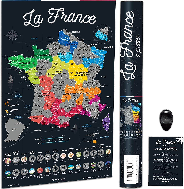 Bonanzana Carte De France A Gratter Poster A Gratter Les Regions Departements Francais Visites Avec Plats Lieux Gratteur Et Tube Carte Cadeau Murale Voyages Scratch Off Map