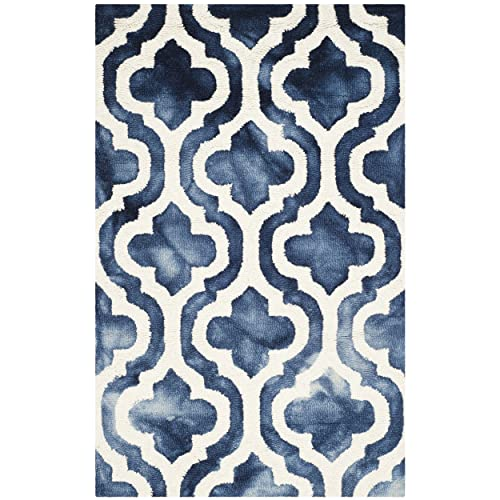 Safavieh Dip Dye Collection DDY537N Handmade Geometric Moroccan Watercolor Navy and Ivory Wool Area Rug 3 x 5