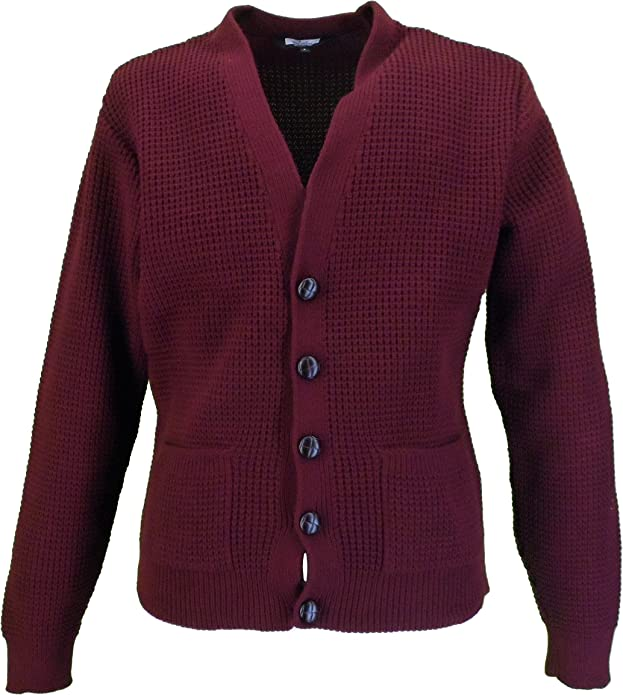 Men's Vintage Sweaters, Retro Jumpers 1920s to 1980s Relco Mens Waffle Knit Retro 60s Button Cardigan £34.99 AT vintagedancer.com
