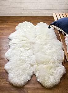 Super Area Rugs Genuine Large Sheepskin Rug 4X6 Fluffy & Soft Area Rug, Natural, Quarto