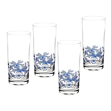 Spode Blue Italian Glassware Hi-Ball Glasses, S/4