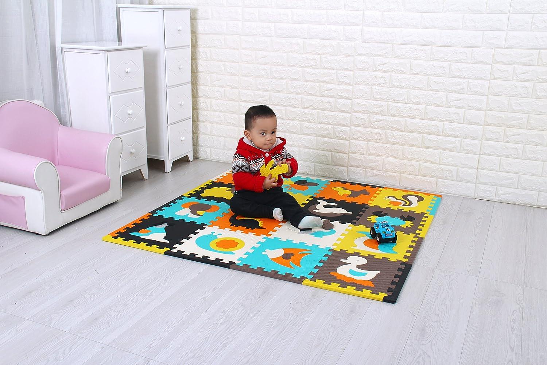 Suelo de Goma EVA Suave ,Animales /& P/ájaro QQP-1032b18N 30*30*8cm 18 Piezas qqpp Alfombra Puzzle para Ni/ños Bebe Infantil